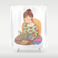 reading Shower Curtains featuring Reading by Maria Garcia