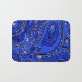 Marble Map - blue and gold Bath Mat