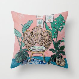 Wicker Shell Chair in Tropical Interior Throw Pillow