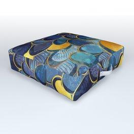 Abstract deep blue Outdoor Floor Cushion