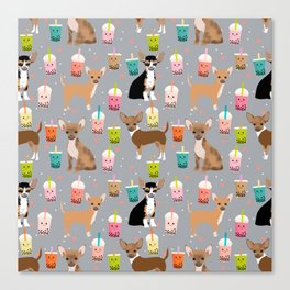 Chihuahua bubble tea kawaii boba tea cute dog breed pattern dog art chihuahuas Canvas Print