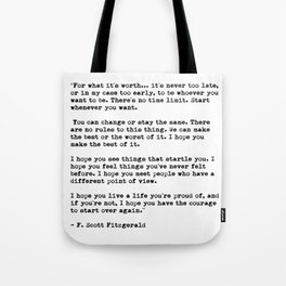 F Scott Fitzgerald quote Tote Bag