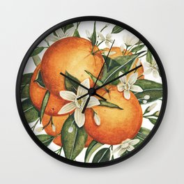 Orange Blossoms Wall Clock