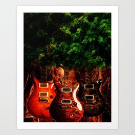 Tree Guitar Art Print