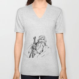 Moses, graphite drawing Unisex V-Neck