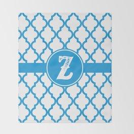 Blue Monogram: Letter Z Throw Blanket