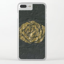 Golden Rose on Textured Canvas Clear iPhone Case