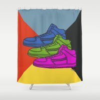 sneakers Shower Curtains featuring Colorful sneakers by YTRKMR