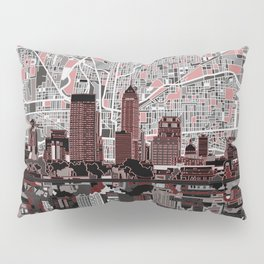 indianapolis city skyline grey Pillow Sham