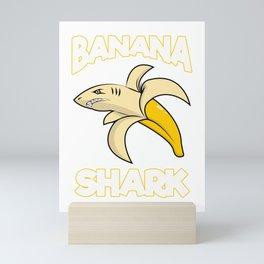 Cute & Funny Banana Shark Mini Art Print
