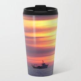 Fishing Boat At Sunrise Travel Mug