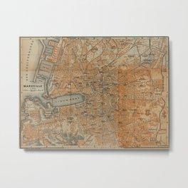 Vintage Map of Marseille France (1914) Metal Print