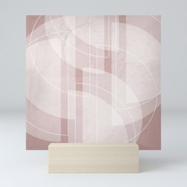 Abstract Semi Circle Design in Shell Pink Mini Art Print