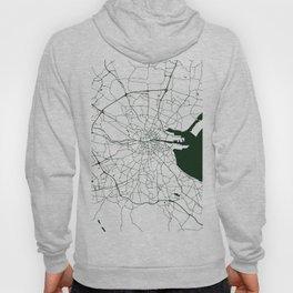 White on Dark Green Dublin Street Map Hoody