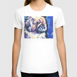 Fun Pekingese Dog Portrait bright colorful Pop Art T-shirt