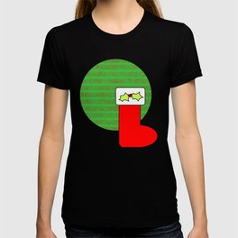 Christmas stocking with holly T-shirt