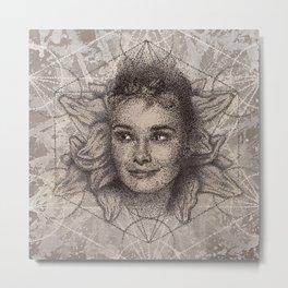 Audrey Hepburn dot work portrait Metal Print