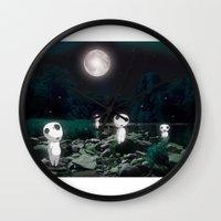 kodama Wall Clocks featuring Forest Spirits (Kodama)   by pkarnold + The Cult Print Shop
