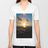 ireland V-neck T-shirts featuring Lahinch, Ireland by American Artist Bobby B