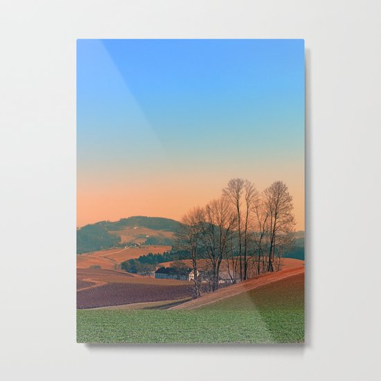 Trees, panorama and sunset | landscape photography Metal Print