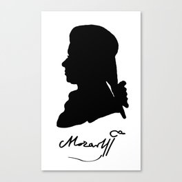 Wolfgang Amadeus Mozart (1756 -1791) silhouette, engraved by Hieronymous Löschenkohl, 1785 Canvas Print