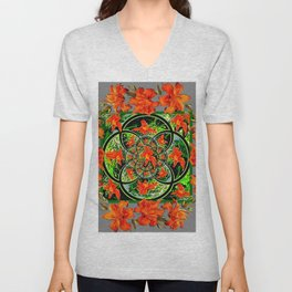 ORANGE DAYLILIES GREEN GARDEN GREY GEOMETRIC Unisex V-Neck