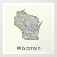 wisconsin Art Prints featuring Wisconsin map by David Zydd
