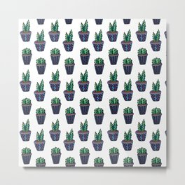 Blue Cacti Pattern Metal Print