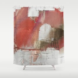 The Little Things: a minimal, abstract piece in reds and gold by Alyssa Hamilton Art Shower Curtain
