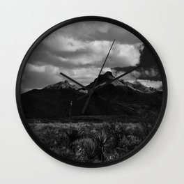 Dramatic Clouds over Mountain Range in Big Bend Wall Clock