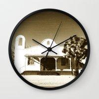quentin tarantino Wall Clocks featuring Kill Bill Church Quentin Tarantino by Chris Bergeron