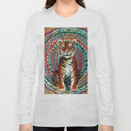 Tiger Watercolor Yoga Mandala Long Sleeve T-shirt