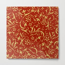 Gold and red swirl floral damasks Metal Print