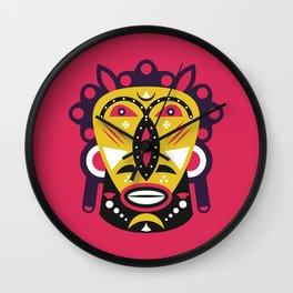 African Kuba Face Mask Wall Clock