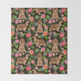 Cocker Spaniel hawaiian tropical print with dog breeds cocker spaniels Throw Blanket