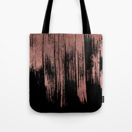 Modern chic faux rose gold black paint brushstrokes Tote Bag