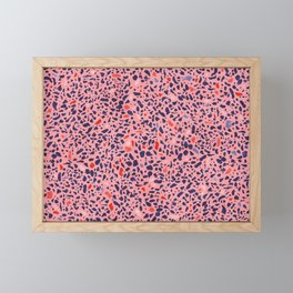 Terrazzo pink red blue Framed Mini Art Print