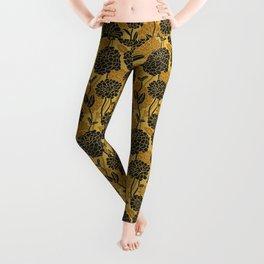 Black and gold. Zinnia Flower Pattern Leggings