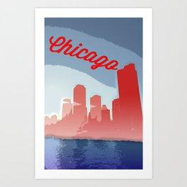 Chicago Skyline Travel Poster Art Print