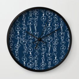 poppy vines on navy Wall Clock
