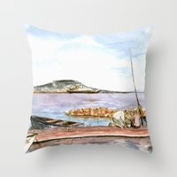 fishing Throw Pillows featuring Fishing by Vargamari