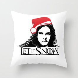 Let it Snow Santa Hat Christmas is Coming Throw Pillow