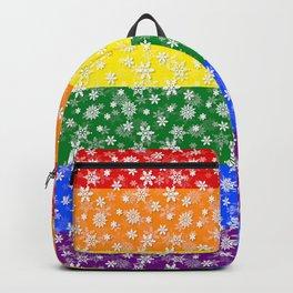 Christmas Pride Bright Festive Rainbow Snowflakes Backpack