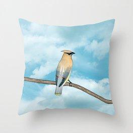 cedar waxwing and blue sky Throw Pillow