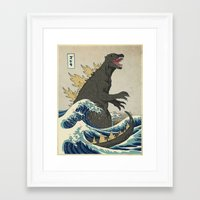 Framed Art Prints featuring The Great Godzilla off Kanagawa by DinoMike