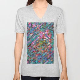geometric square pixel pattern abstract background in blue pink Unisex V-Neck