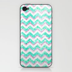 Chevron Pattern Girly Teal Pink Glitter iPhone & iPod Skin