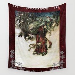 Father Christmas 2, Vintage Arthur Rackham Santa Wall Tapestry