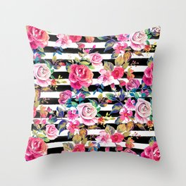 Cute spring floral and stripes watercolor pattern Throw Pillow