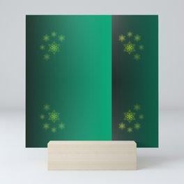 green pattern, shiny stars christmas pattern Mini Art Print